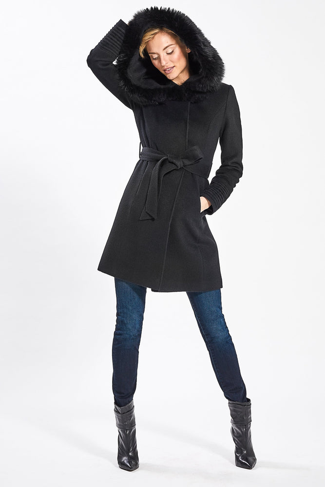 Mid Length Wrap Coat With Fur Hood, Black