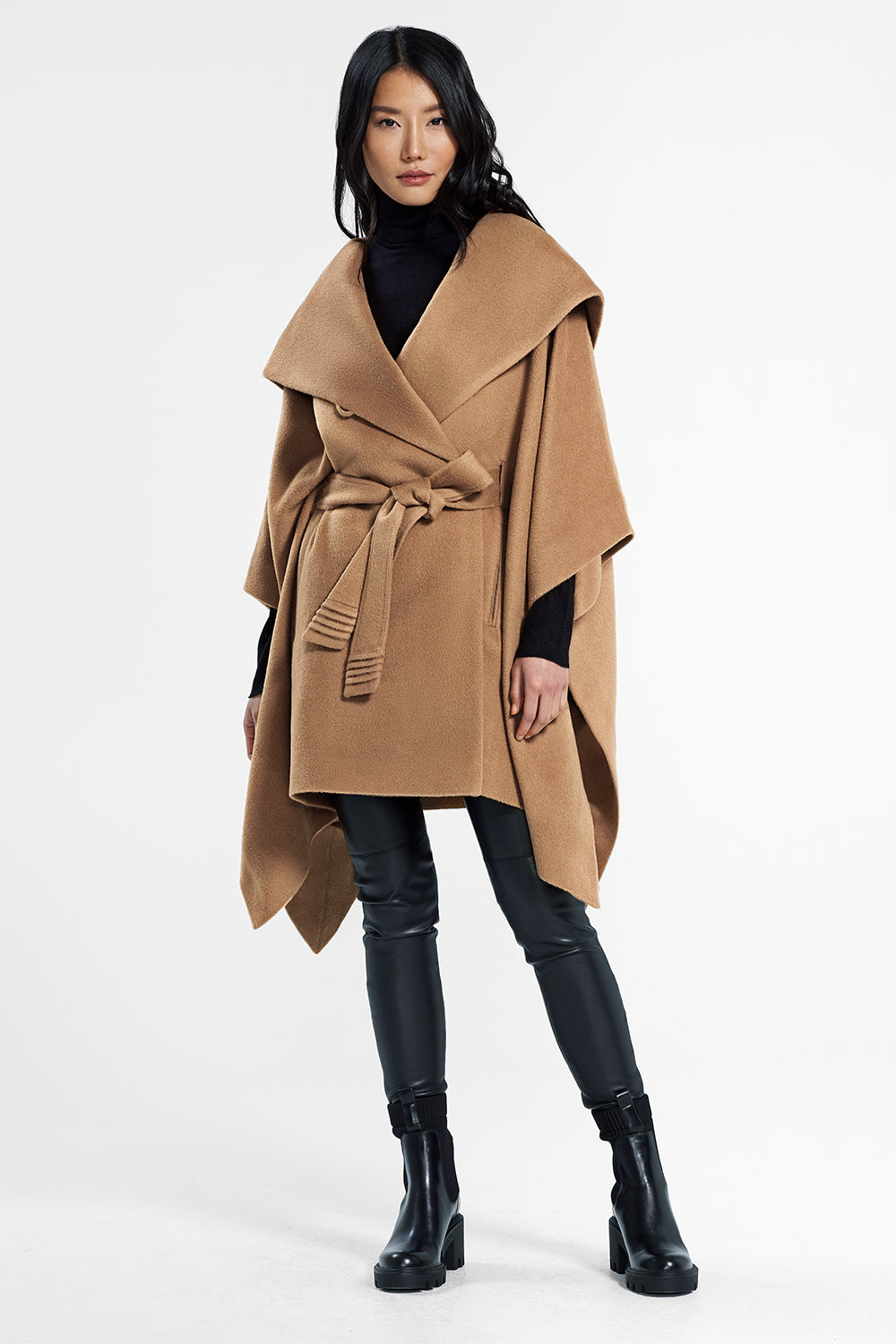 Sentaler Oversized Hooded Poncho with Belt featured in Baby Alpaca and available in Dark Camel. Seen from front.