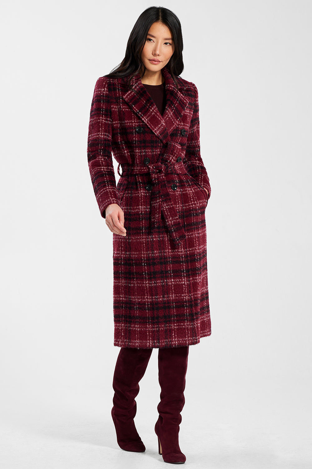 Sentaler Plaid Long Double Breasted Coat featured in Suri Alpaca and available in Garnet Red Plaid. Seen from front.