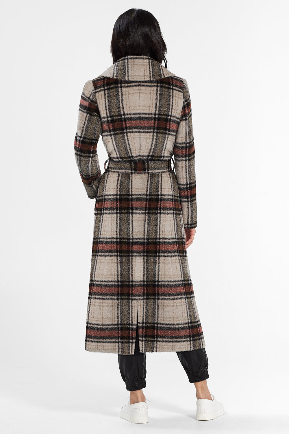 Sentaler Plaid Long Notched Collar Wrap Coat featured in Suri Alpaca and available in Sand Plaid. Seen from back.