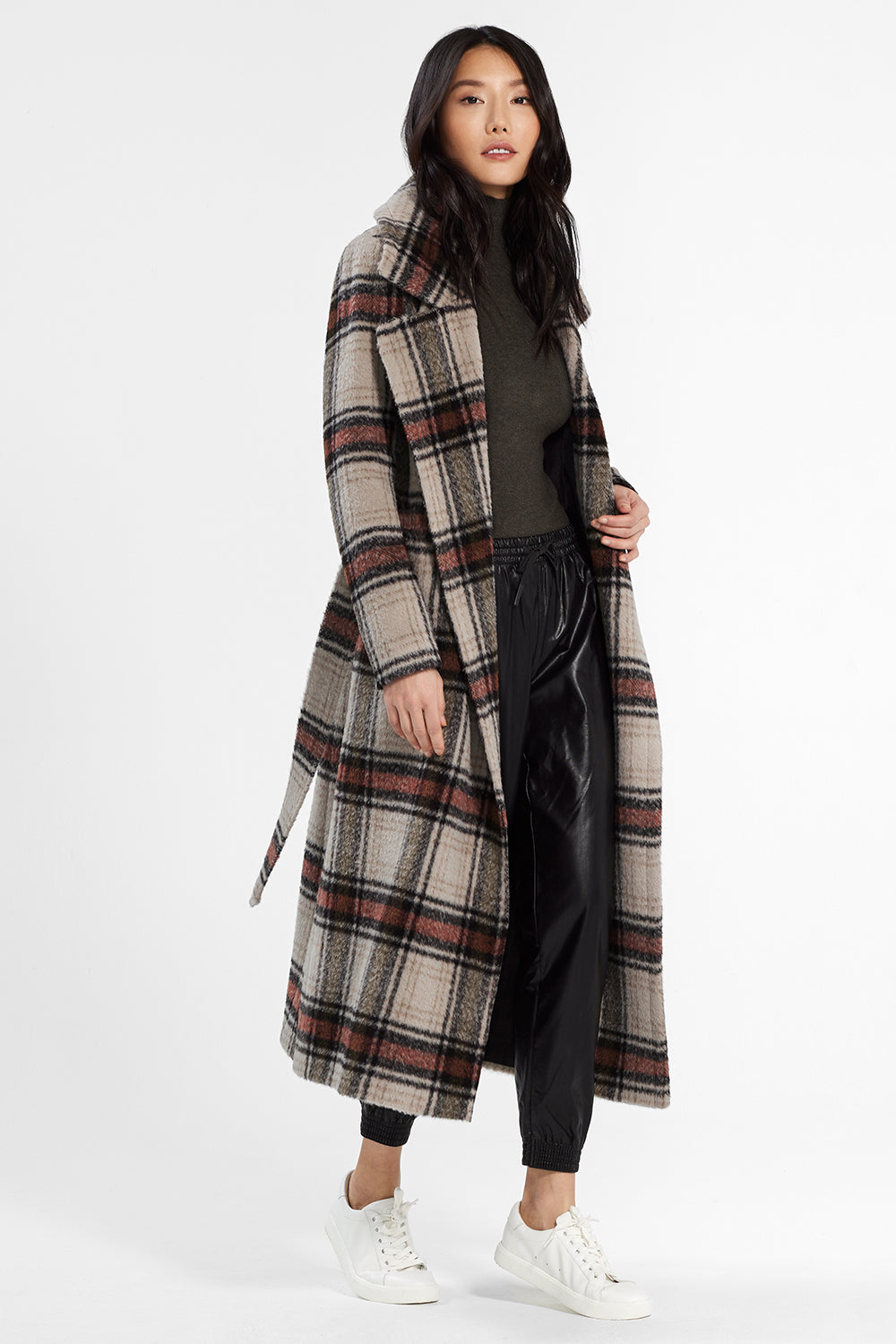 Sentaler Plaid Long Notched Collar Wrap Coat featured in Suri Alpaca and available in Sand Plaid. Seen open.