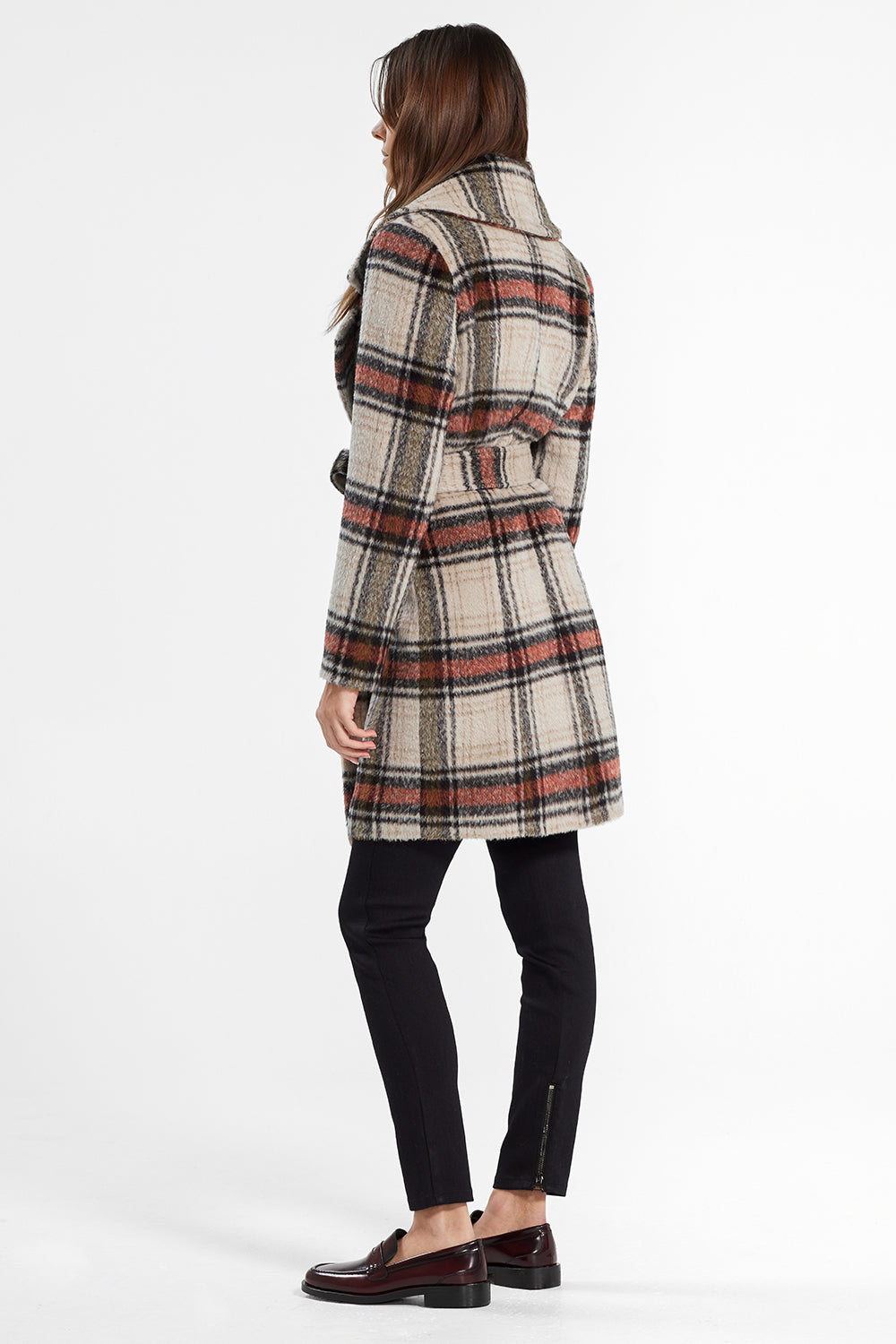 Sentaler Plaid Mid Length Notched Collar Wrap Coat featured in Suri Alpaca and available in Sand Plaid. Seen from back.