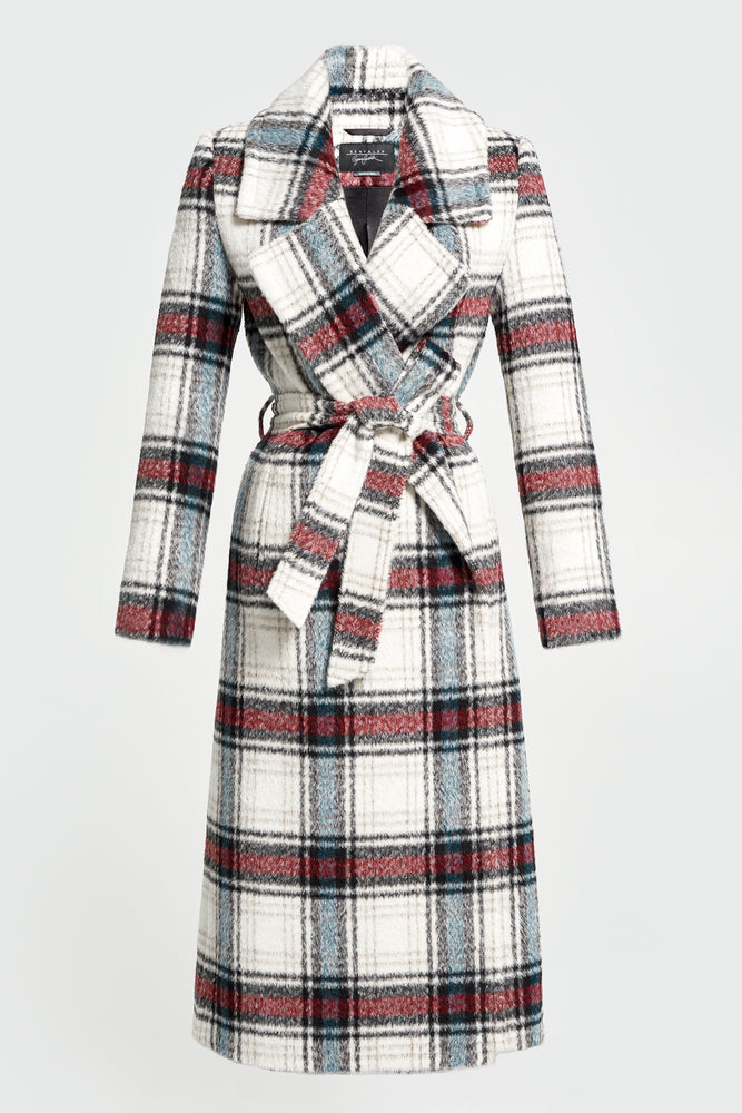 Plaid Notched Collar Wrap Coat