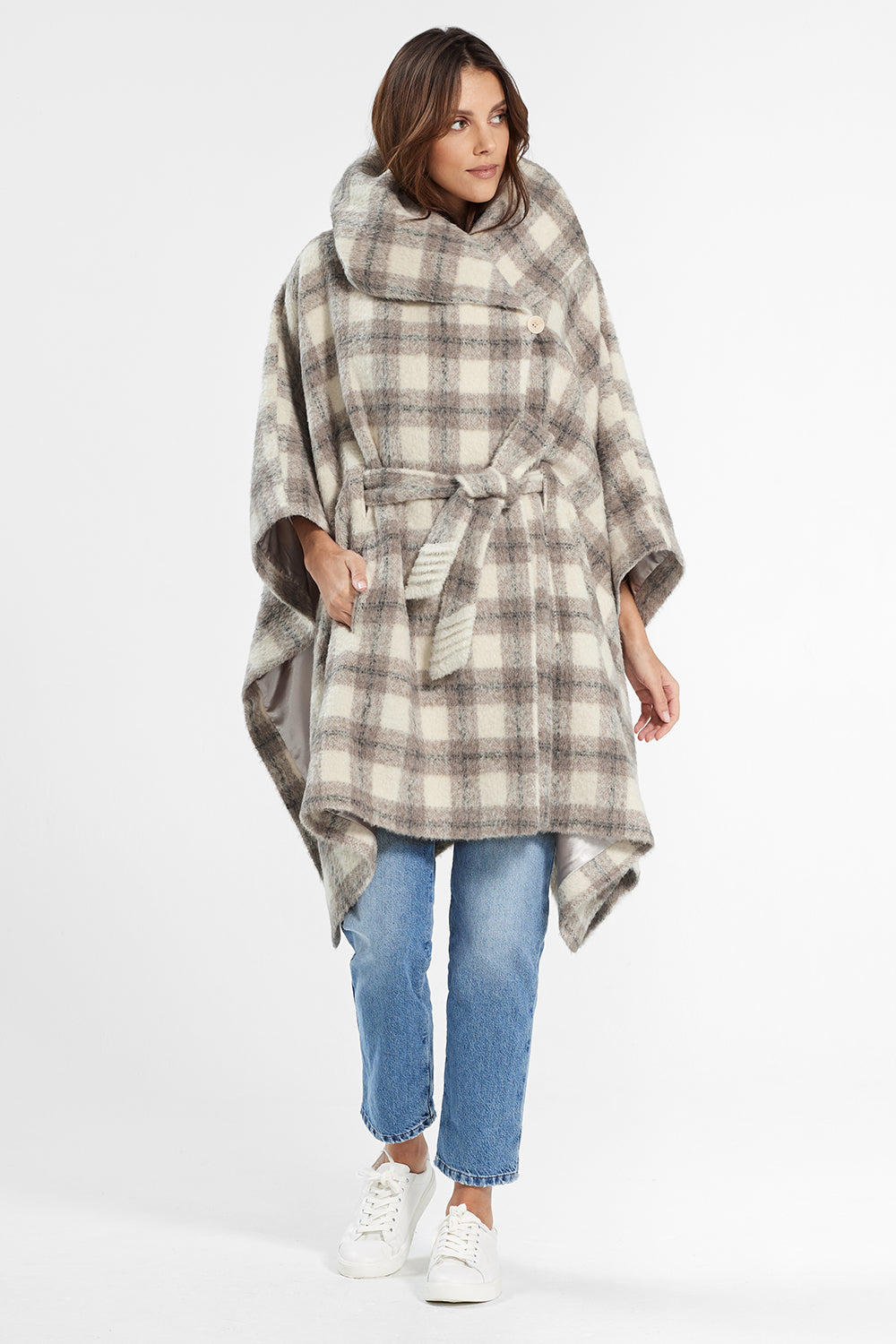 Sentaler Plaid Oversized Hooded Poncho with Belt featured in Suri Alpaca and available in Ecru Plaid. Seen from front.