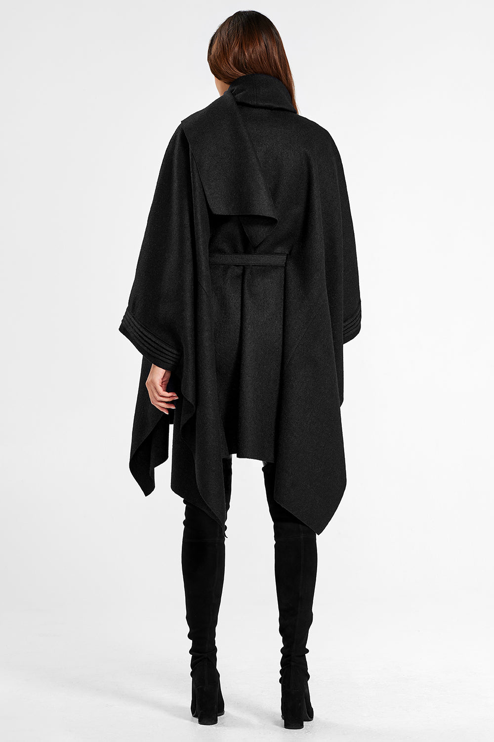 Sentaler Poncho with Shawl Collar and Belt featured in Superfine Alpaca and available in Black. Seen from back.