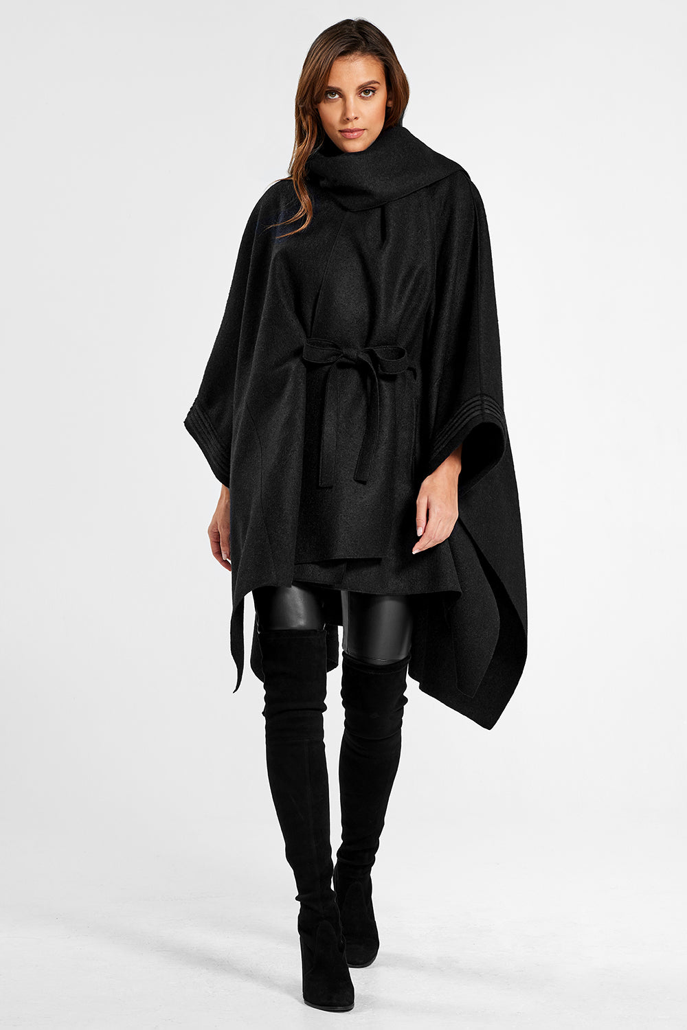 Sentaler Poncho with Shawl Collar and Belt featured in Superfine Alpaca and available in Black. Seen from front.