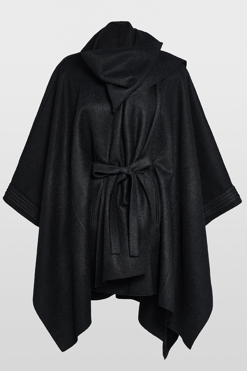 Sentaler Poncho with Shawl Collar and Belt featured in Superfine Alpaca and available in Black. Seen off model.