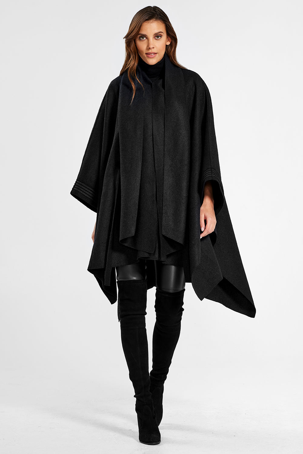 Sentaler Poncho with Shawl Collar and Belt featured in Superfine Alpaca and available in Black. Seen open.