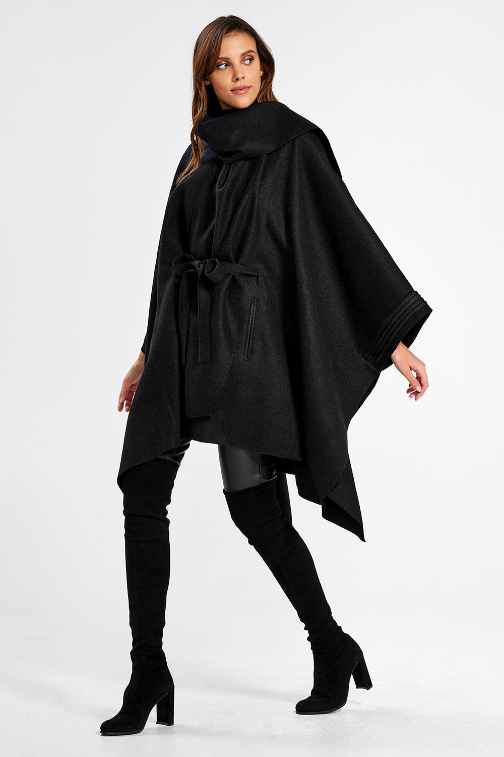 Sentaler Poncho with Shawl Collar and Belt featured in Superfine Alpaca and available in Black. Seen from side.