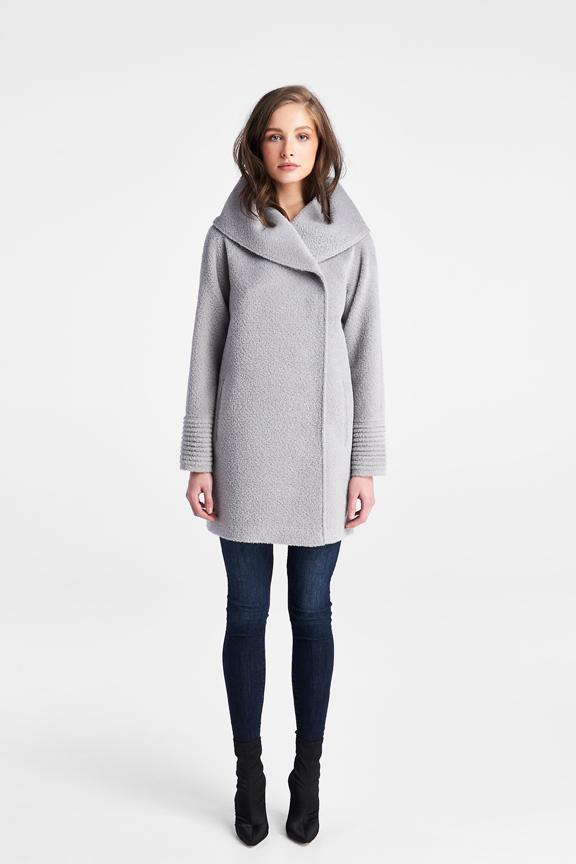 Raglan Sleeve Hooded Straight Cut Coat, Glacier Grey