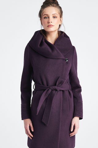 Long Shawl Collar Wrap Coat with Ribbed Sleeves, Charcoal