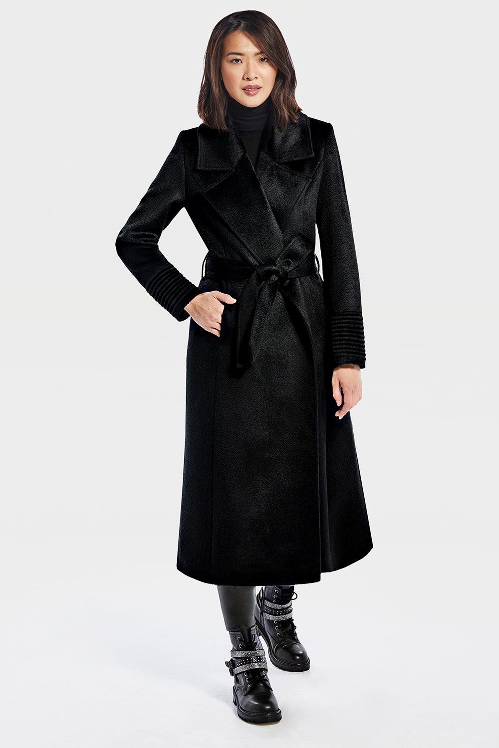 Sentaler Suri Alpaca Long Notched Collar Wrap Coat featured in Suri Alpaca and available in Black. Seen from front.