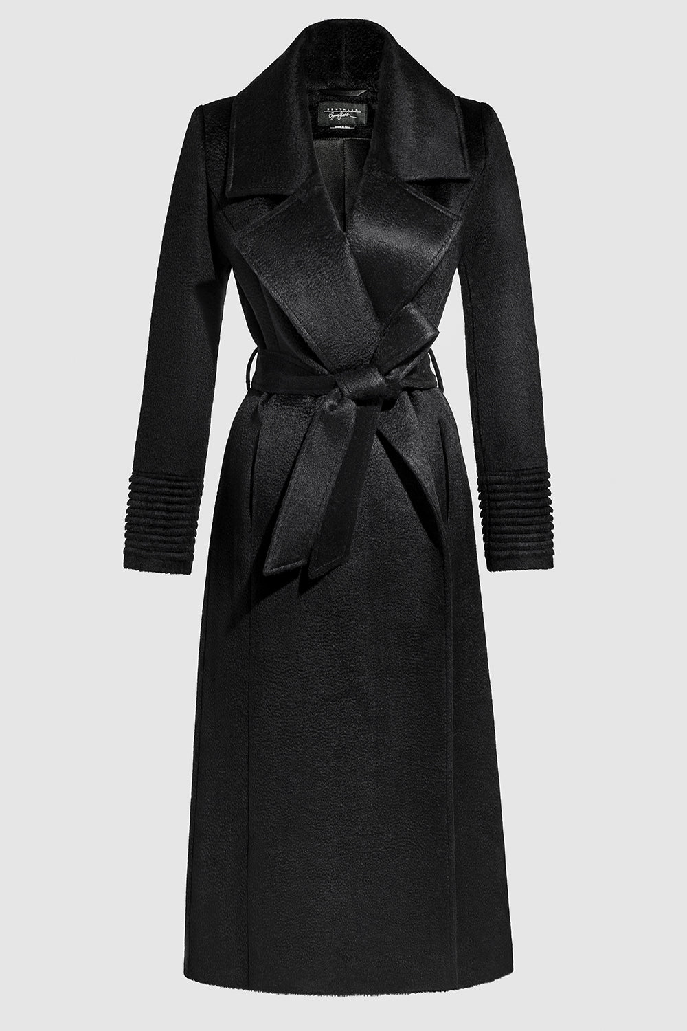 Sentaler Suri Alpaca Long Notched Collar Wrap Coat featured in Suri Alpaca and available in Black. Seen off model.