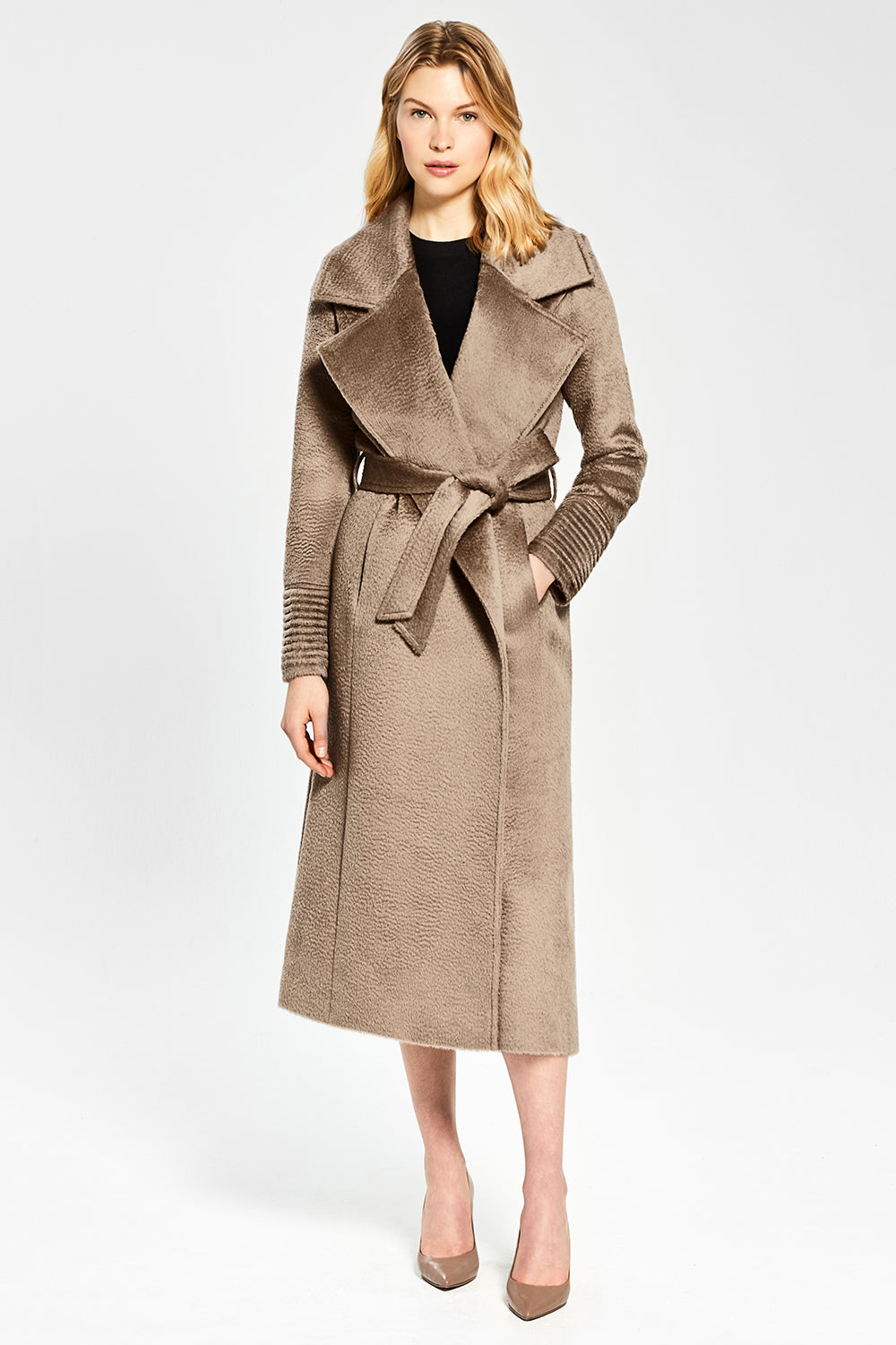 Sentaler Suri Alpaca Long Notched Collar Wrap Coat featured in Suri Alpaca and available in Hazelnut. Seen from front.