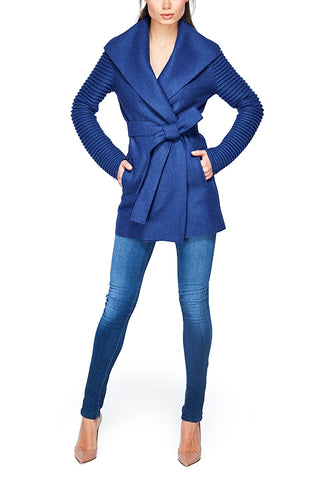 Wrap Coat with Ribbed Sleeves, True Blue