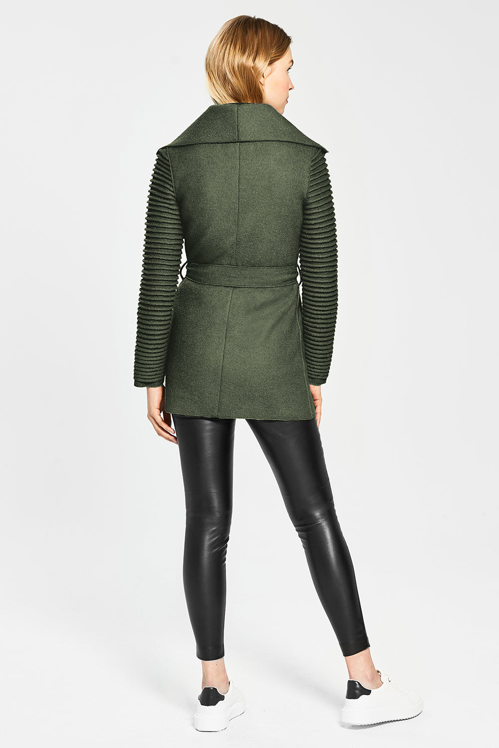 Sentaler Wrap Coat with Ribbed Sleeves featured in Superfine Alpaca and available in Army Green. Seen from Back.