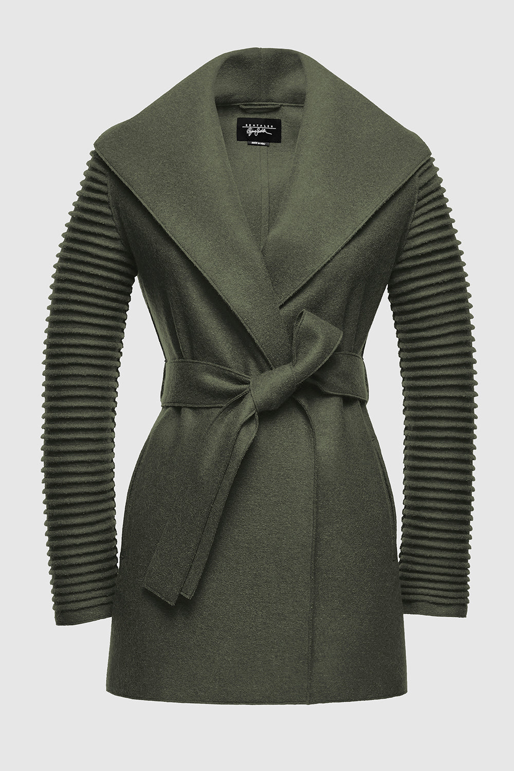 Sentaler Wrap Coat with Ribbed Sleeves featured in Superfine Alpaca and available in Army Green. Seen off model.