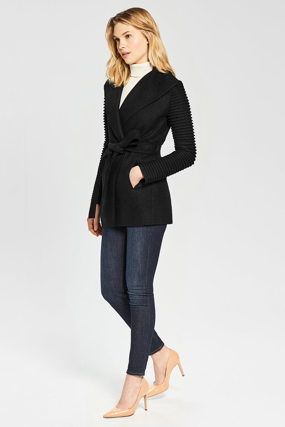 Sentaler Wrap Coat with Ribbed Sleeves featured in Superfine Alpaca and available in Black. Seen from Side.
