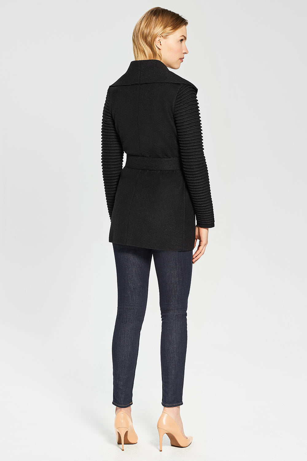 Sentaler Wrap Coat with Ribbed Sleeves featured in Superfine Alpaca and available in Black. Seen from Back.