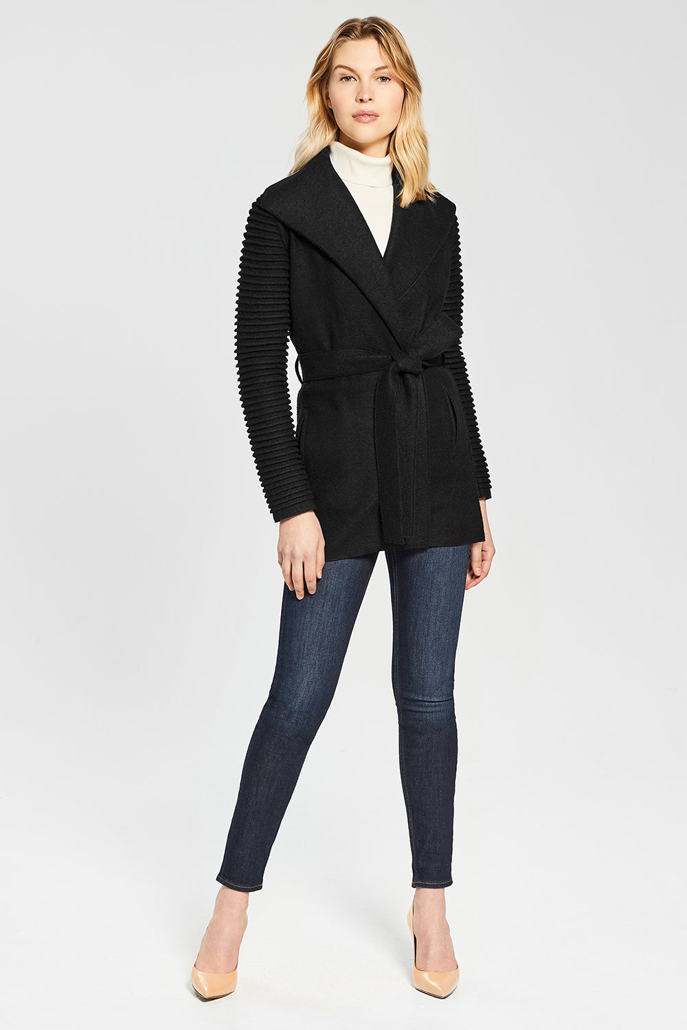 Sentaler Wrap Coat with Ribbed Sleeves featured in Superfine Alpaca and available in Black. Seen from Front.