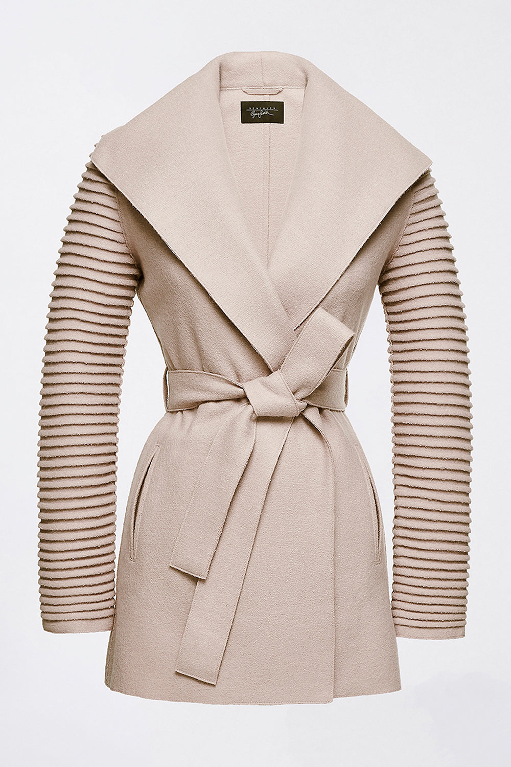 Sentaler Wrap Coat with Ribbed Sleeves featured in Superfine Alpaca and available in Chamois. Seen off model.