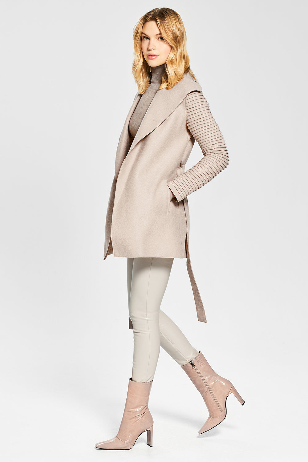 Sentaler Wrap Coat with Ribbed Sleeves featured in Superfine Alpaca and available in Chamois. Seen open.