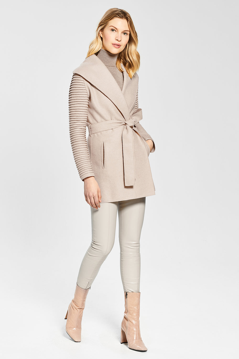 Sentaler Wrap Coat with Ribbed Sleeves featured in Superfine Alpaca and available in Chamois. Seen from side.