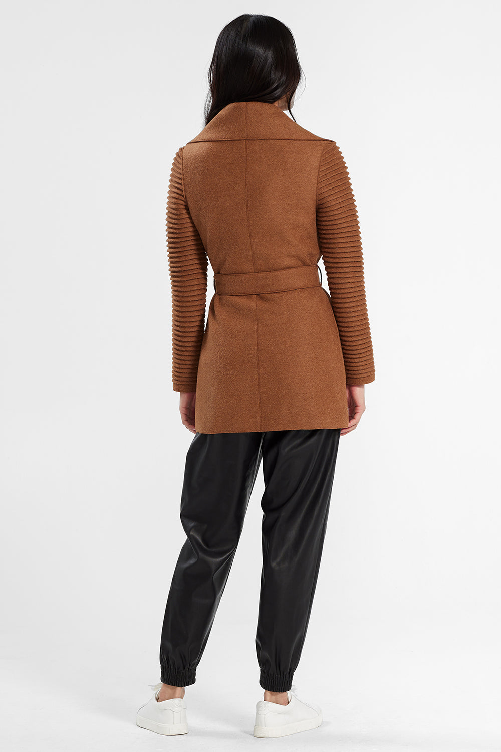 Sentaler Wrap Coat with Ribbed Sleeves featured in Superfine Alpaca and available in Dark Camel. Seen from back.