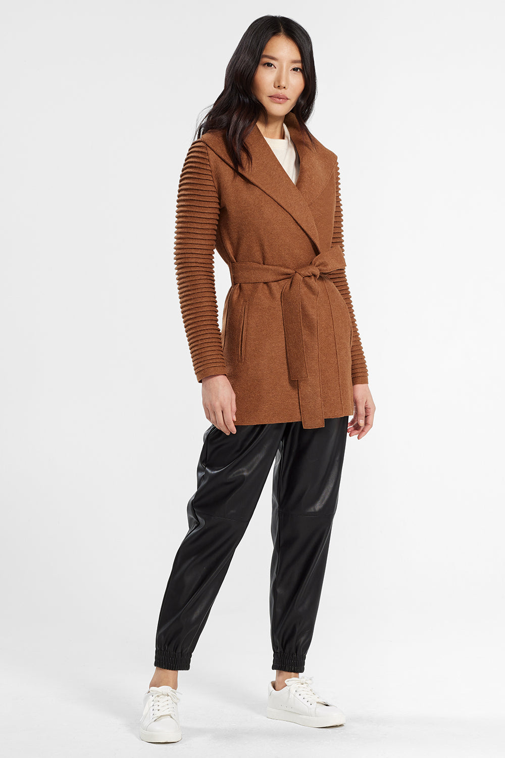 Sentaler Wrap Coat with Ribbed Sleeves featured in Superfine Alpaca and available in Dark Camel. Seen from front.