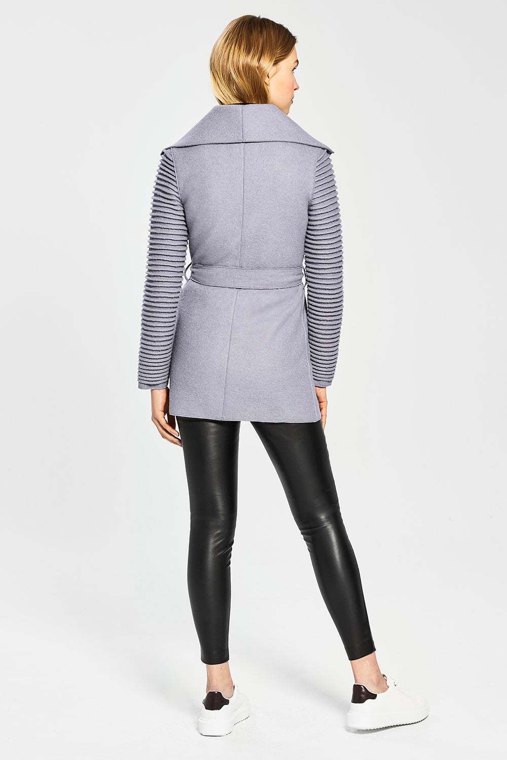 Sentaler Wrap Coat with Ribbed Sleeves featured in Superfine Alpaca and available in Gull Grey. Seen from back.