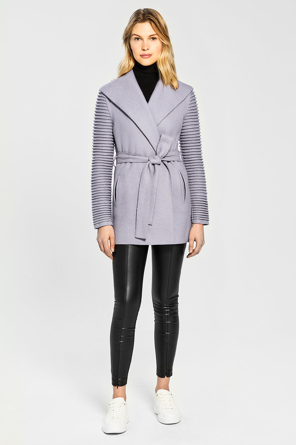 Sentaler Wrap Coat with Ribbed Sleeves featured in Superfine Alpaca and available in Gull Grey. Seen from front.