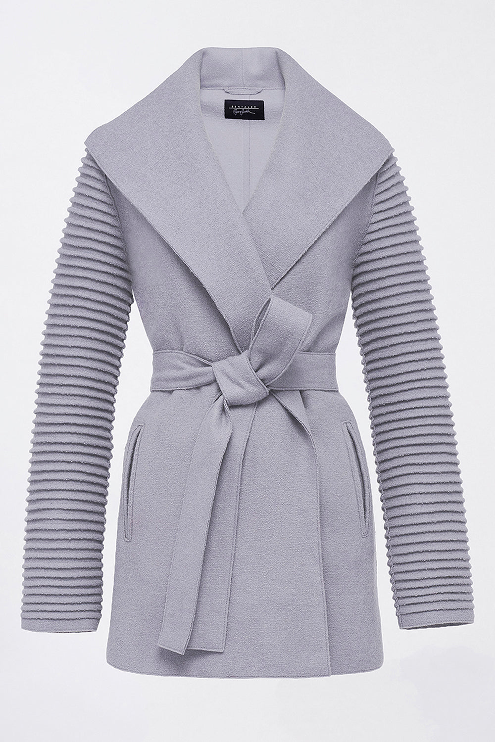 Sentaler Wrap Coat with Ribbed Sleeves featured in Superfine Alpaca and available in Gull Grey. Seen off model.