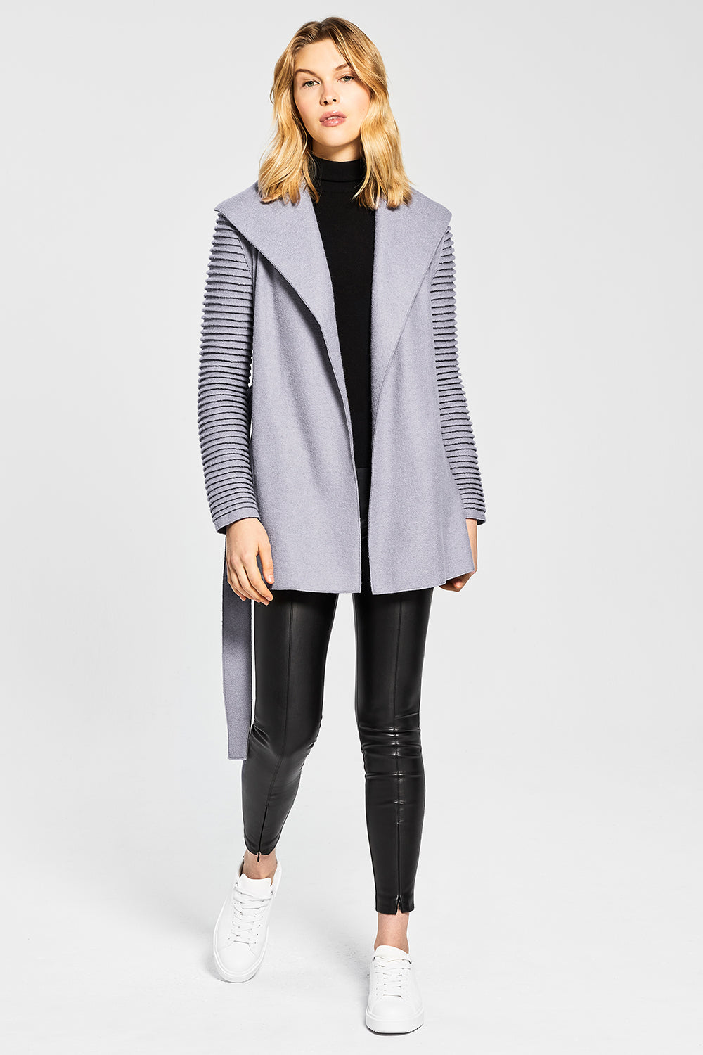Sentaler Wrap Coat with Ribbed Sleeves featured in Superfine Alpaca and available in Gull Grey. Seen open.
