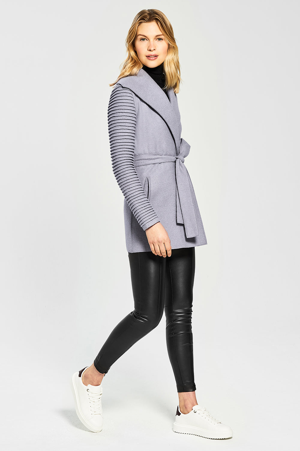 Sentaler Wrap Coat with Ribbed Sleeves featured in Superfine Alpaca and available in Gull Grey. Seen from side.