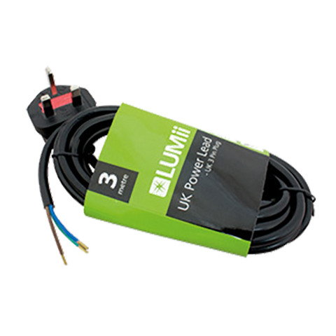 LUMii uk power lead 3m - hull hydroponics