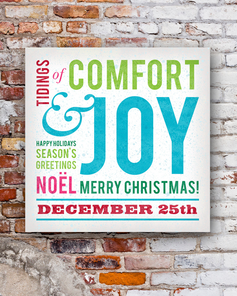 Comfort and Joy Christmas Wall Sign by Transit Design