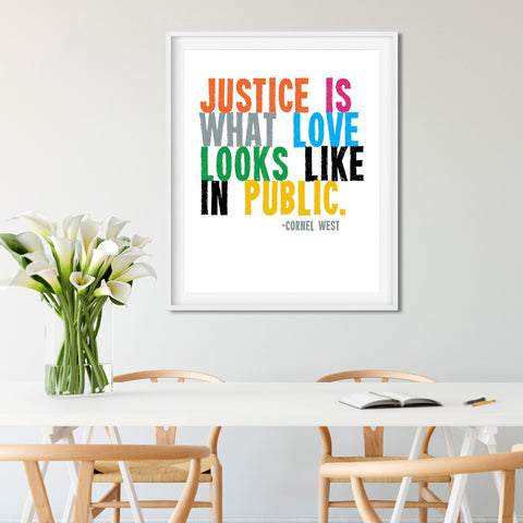Love is What Justice Looks Like in Public. Anti-Racist Poster by Transit Design.