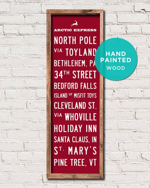 Hand Painted Wood Christmas Sign by Transit Design, Christmas Subway Art