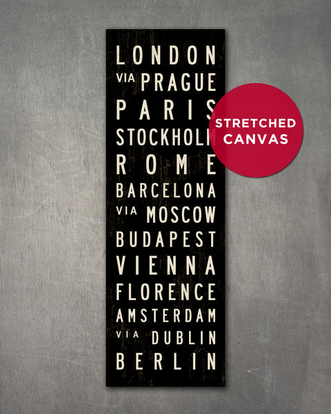 Europe Bus Scroll, Subway Sign Wall Art by Transit Design