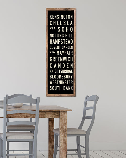 Wood London Subway Art, Wooden Subway Sign by Transit Design