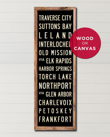 Michigan Subway Sign on Wood or Canvas, Michigan Wall Art by Transit Design