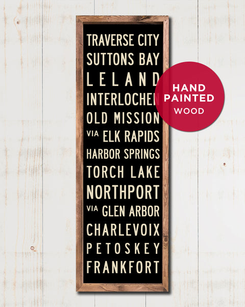 Hand Painted Wood Subway Sign, Michigan Art by Transit Design