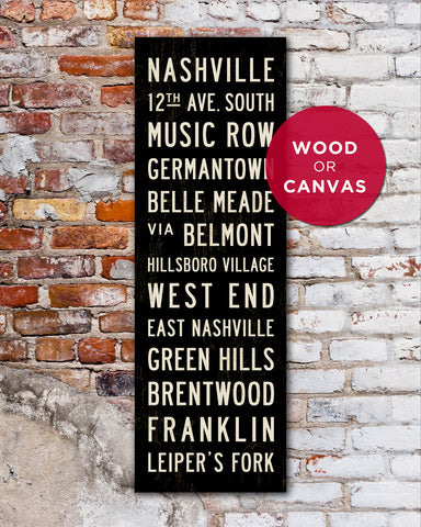 Nashville Subway Signs, Nashville Wall Art by Transit Design