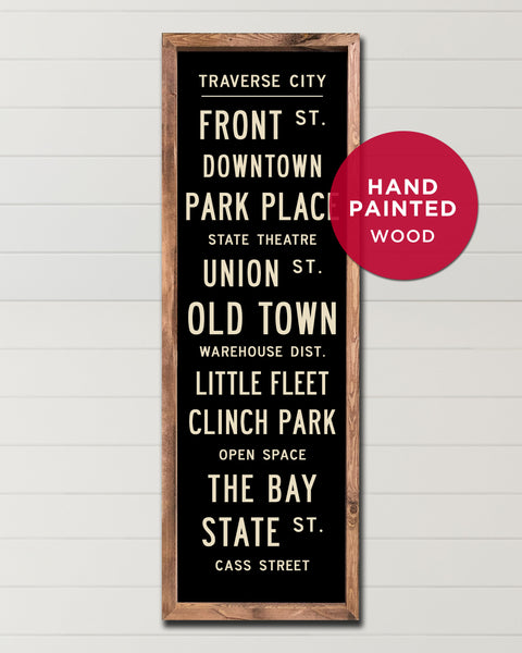 Handmade Wooden Michigan Sign, Traverse City Subway Art by Transit Design