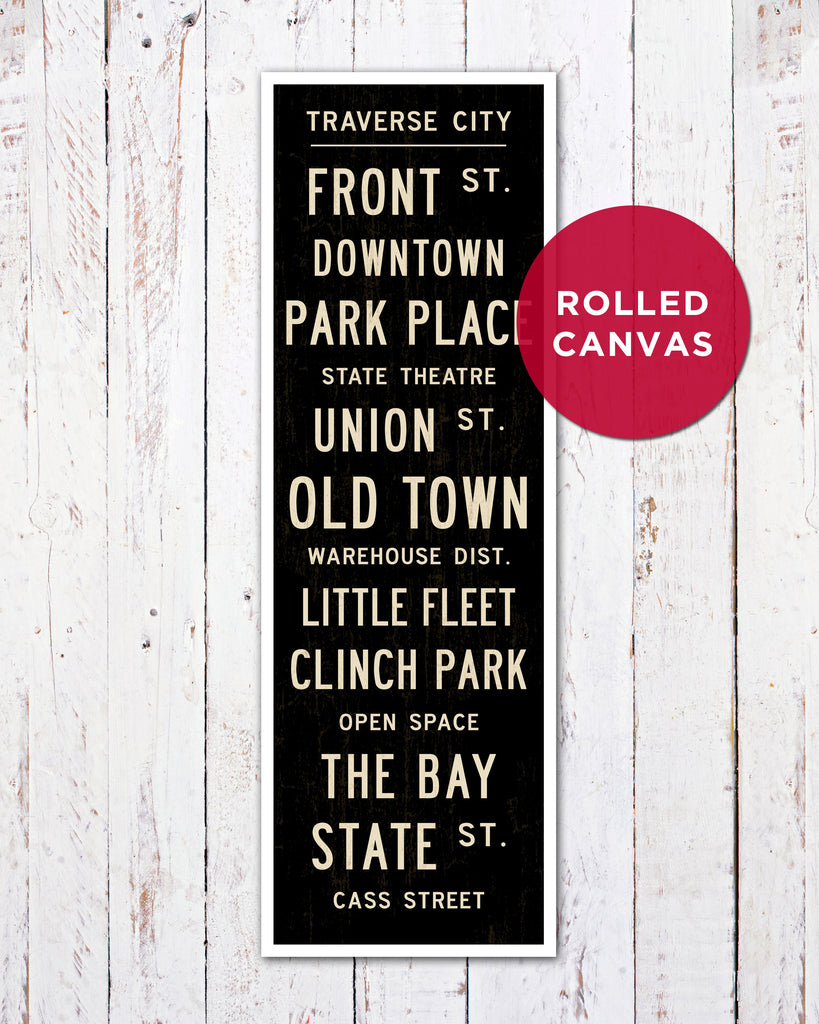 Traverse City Subway Sign on Canvas by Transit Design