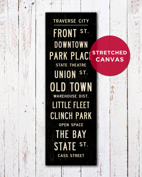 Traverse City Michigan Art on Stretched Canvas, Traverse City Michigan Sign Art by Transit Design