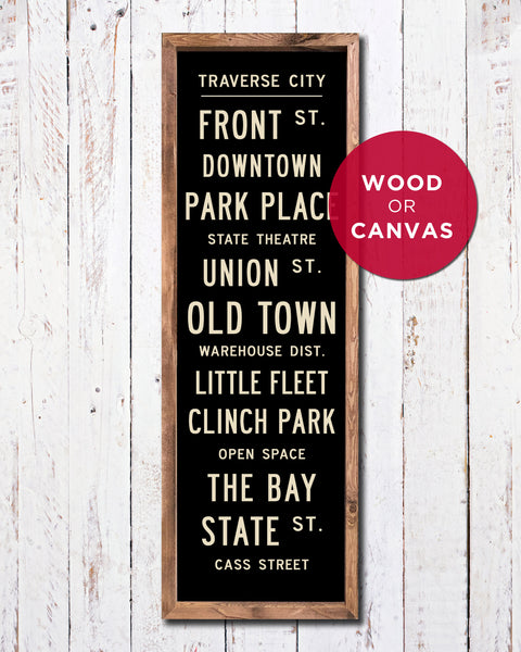 Traverse City Sign, Traverse City Subway Art by Transit Design
