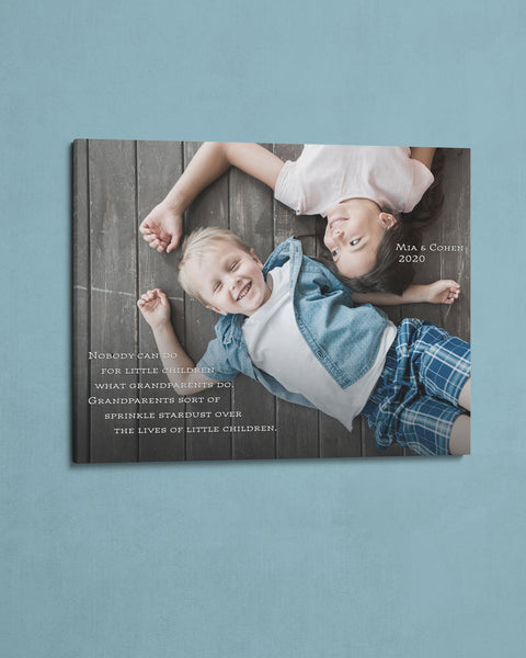 Personalized Gift for Grandparents. Kids Photo on Canvas by Transit Design.