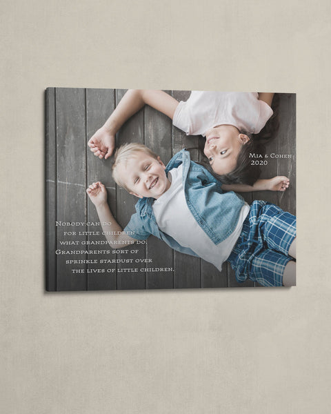 Custom Sibling Photo on Canvas, Kids Photo with Custom Quote by Transit Design