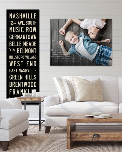 Custom Subway Sign and Personalized Childrens Photo on Canvas by Transit Design.